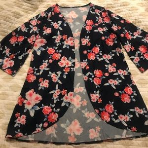 Sweaters - Lightweight Navy Floral Cardigan NWOT